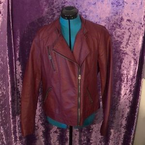 Burgundy faux leather motto jacket